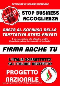 NO BUSINESS ACCOGLIENZA_manifesto_raccolta firme_bassa