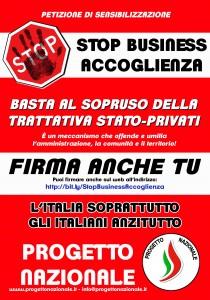 NO BUSINESS ACCOGLIENZA_manifesto_raccolta firme_ON LINE_bassa